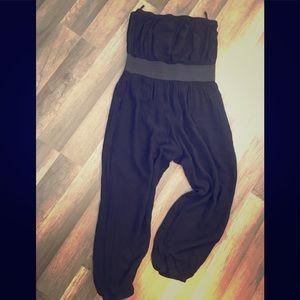 Pants - Strapless Black One-piece Jumpsuit